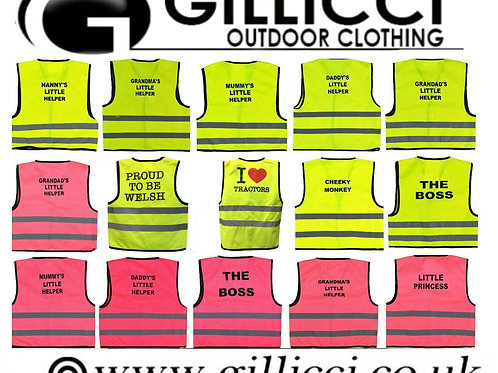 KIDS GILLICCI FANCY DRESS PARTY HI VIS DADDY MUM LITTLE HELPER SAFETY VEST TOP