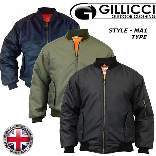 MENS GILLICCI HEAVY PADDED MA1 TYPE ARMY BIKER DOORMAN BOMBER JACKET COAT S-5XL