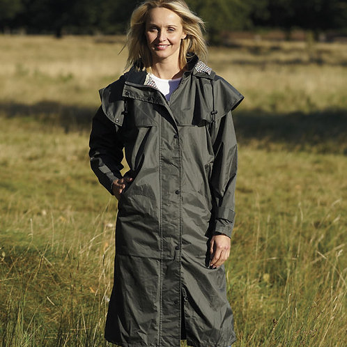 LADIES WOMENS CHAMPION SANDRINGHAM LONG CASUAL 100% WATERPROOF DRAPE JACKET COAT
