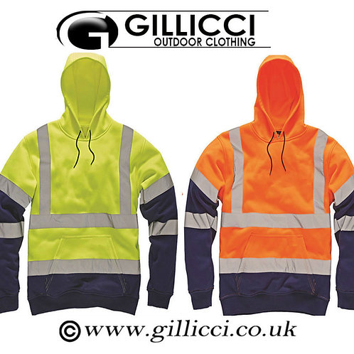 HI HIGH VIZ VIS VISIBILITY HOODIE HOODED REFLECTIVE WORK ZIP FLEECE SWEATSHIRT