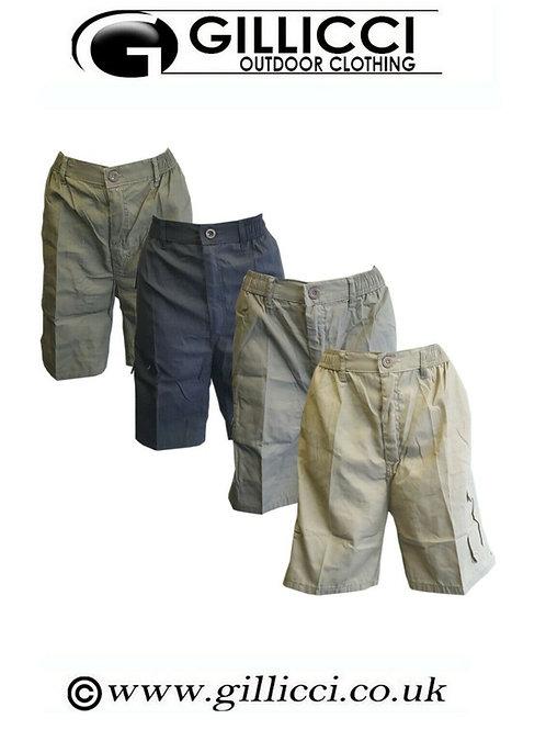 Mens Summer Elasticated Plain Casual Shorts Lightweight Cargo Combat Cotton