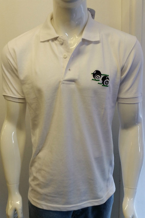 MENS WOMENS GILLICCI WHITE BOWLING CLUB TOP QUALITY COTTON POLO SHIRT T-SHIRT