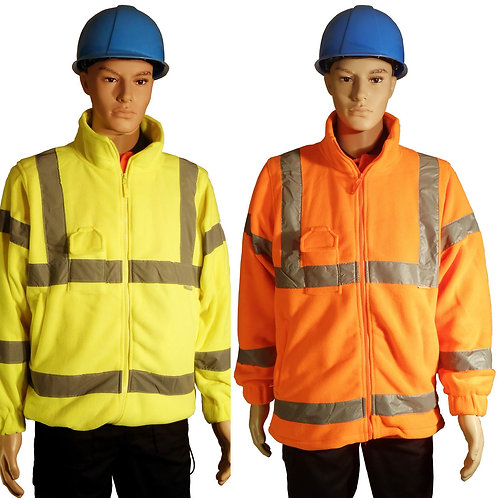 HI VIS VIZ VISIBILITY ANTIPIL FLEECE ZIPPED POCKETS THICK WARM JACKET COAT