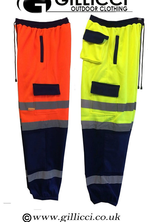 Hi Viz Visibility Two Tone Safety Fleece Combat Jersey Jogging Bottom Trouser