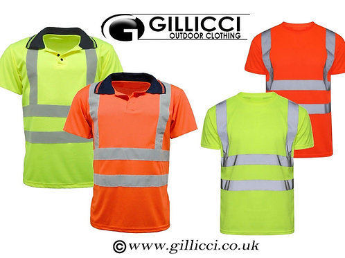 HI VIS VISIBILITY 2 BAND 2 BRACE WORK WORKWEAR REFLECTIVE POLO SHIRT T-SHIRT