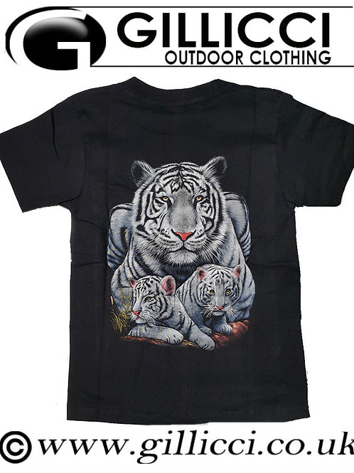 White Large Tiger Mens Women 3D Animal Printed Wild T-shirt Top