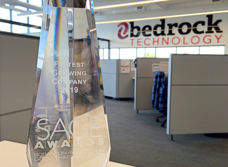 Bedrock Technology Wins 2019 SAGE Award for Fastest Growing Company
