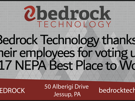 Bedrock Recognized as 2017 NEPA Best Place to Work