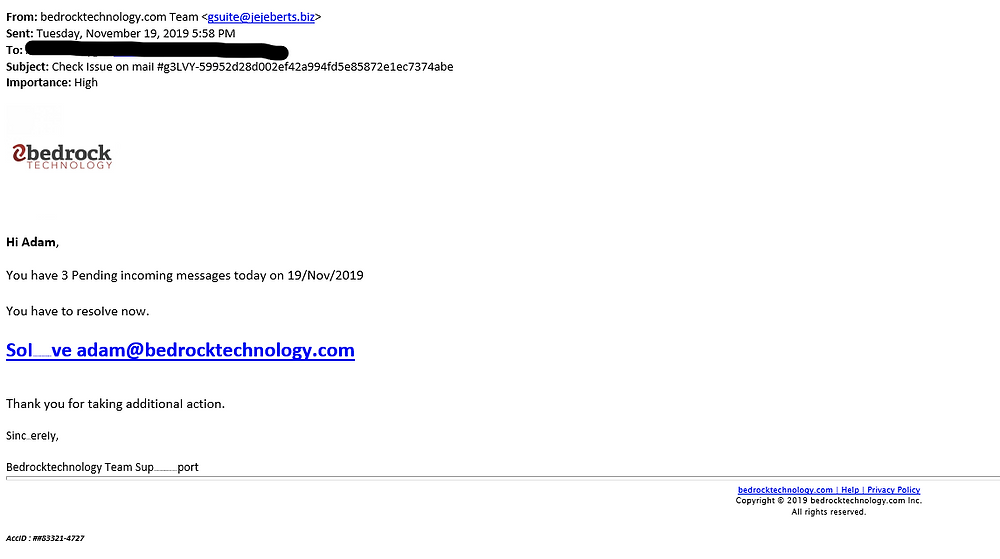 Screen capture of phishing email attempt