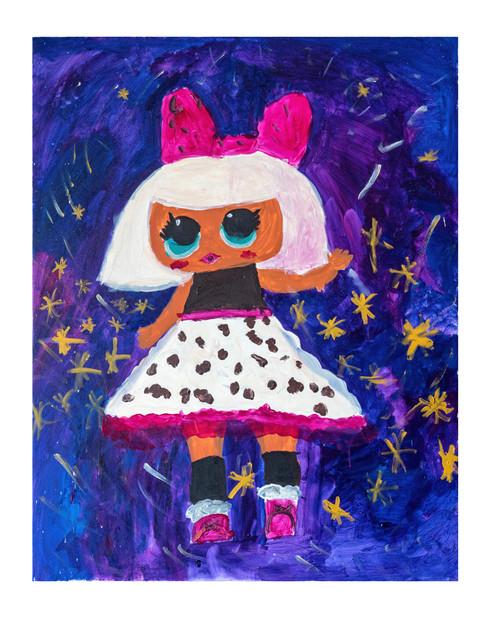 Leopardochka (Leopard girl, acrylic on canvas, 70×90