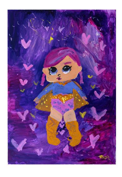 Superheroine, acrylic on canvas, 70×100