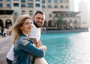 Romantic evening at the Fountains, Dubai.
