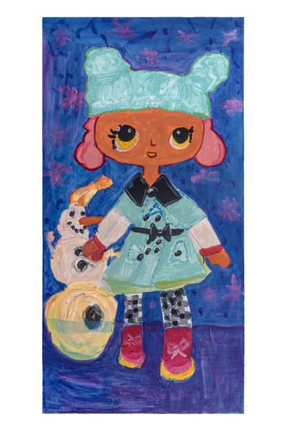 Snow girl, acrylic on canvas, 60×120