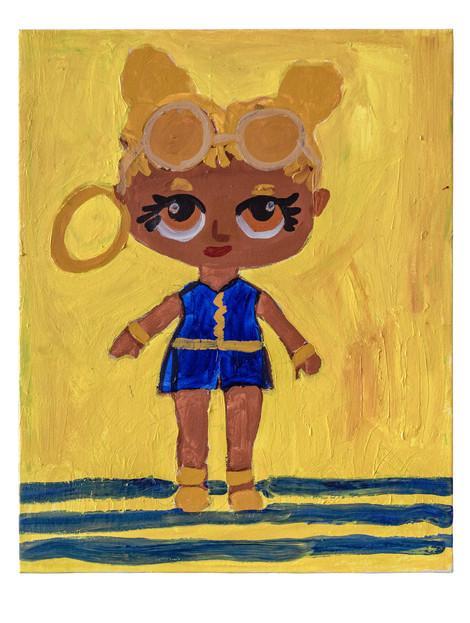 Golden doll, acrylic on canvas, 40×50