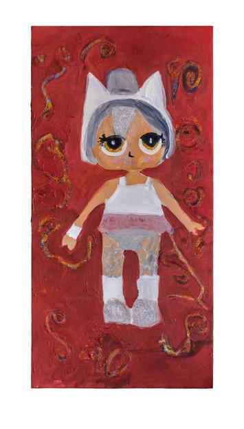 Princess of cats, acrylic on canvas, 50×100