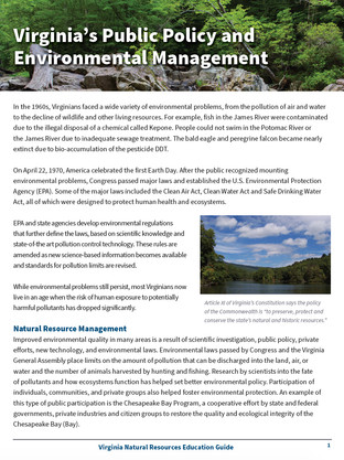 Virginia's Public Policy and Environemental Management