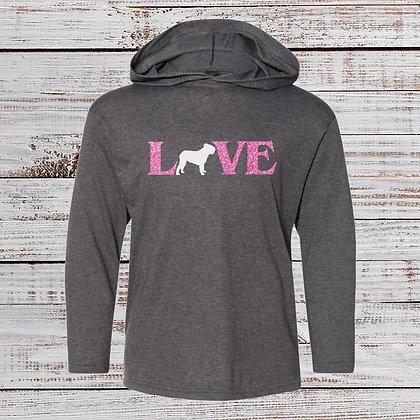 LOVE Glitter Hooded Long Sleeve