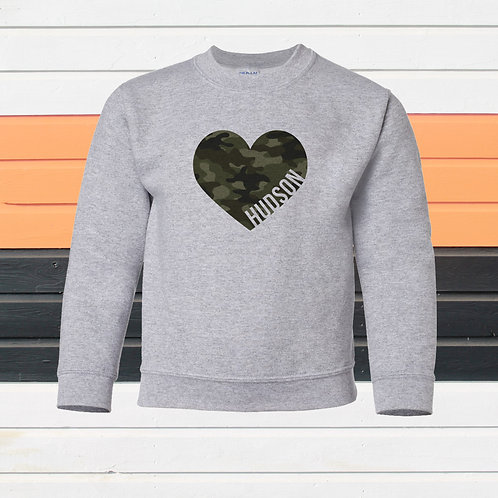 Camo Heart Crew Sweatshirt - Also in White!