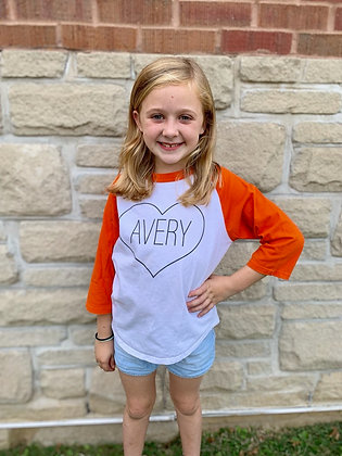 Avery Heart Raglan 3/4 sleeve