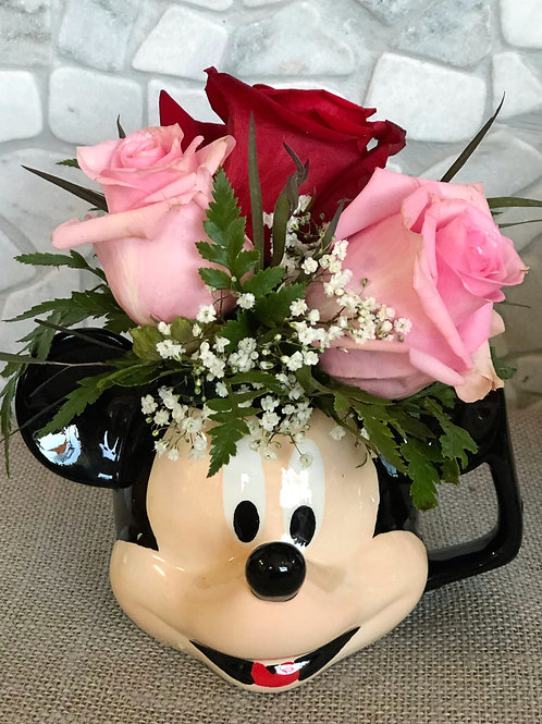 Mickey Mouse Cup with Flowers