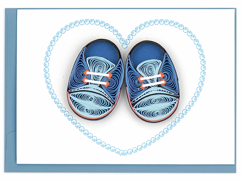 Quilling Enclosure Card - Blue Baby Booties