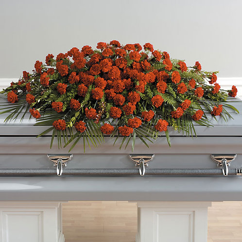A Life Loved Carnation Full Casket Spray