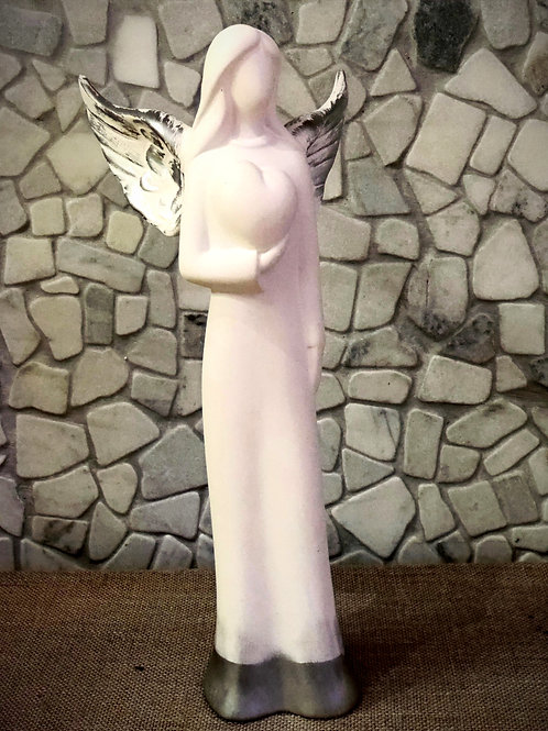 Angel With a Heart Ceramic Statue