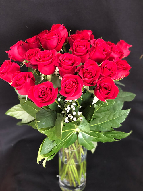 Stunning 24 Red Roses in a Vase