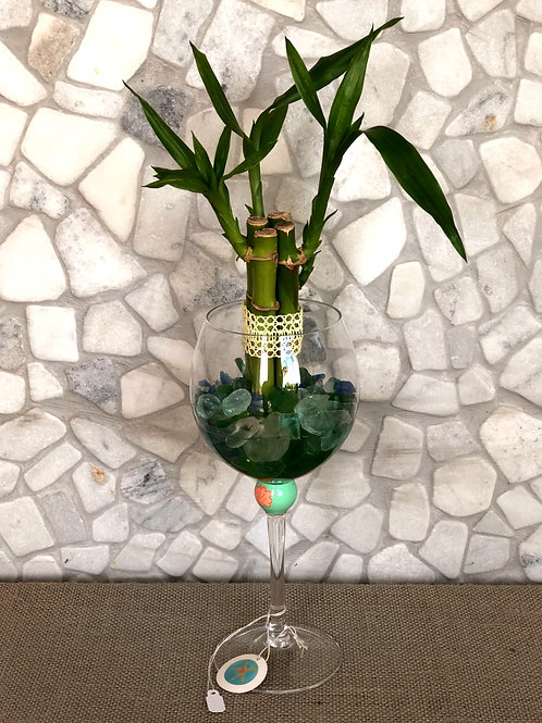 Lucky Bamboo in a Wine Glass