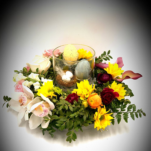Easter Centerpiece with Orchids and other mixed flowers