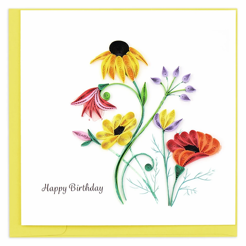 Quilled Wildflower Birthday Blooms Greeting Card