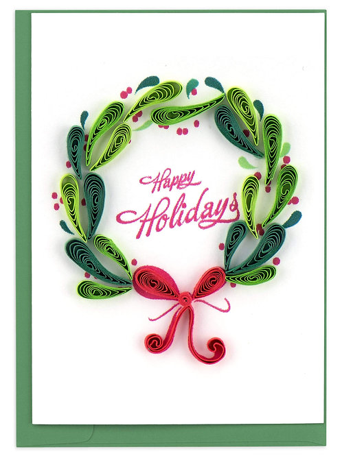 Quilled Holiday Wreath Gift Enclosure