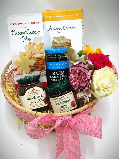 Lovely Snack Basket with Flowers