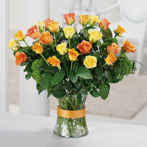 Charming 2 Dozen Colorful Roses in a Vase