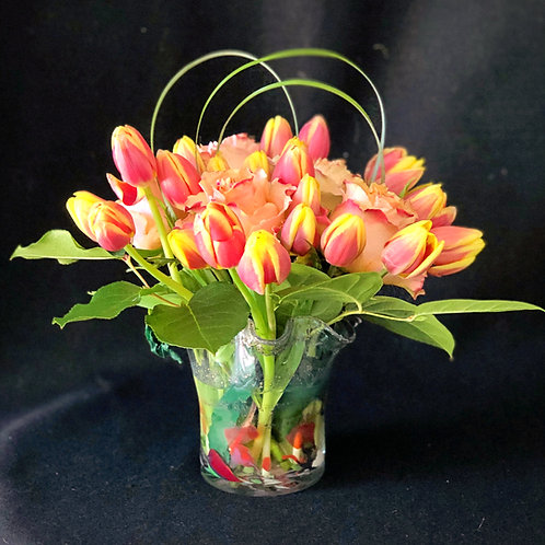 Vibrant Tulip and Roses Bouquet