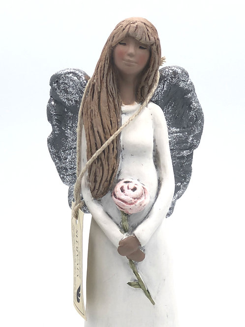 Angel with a Pink Rose