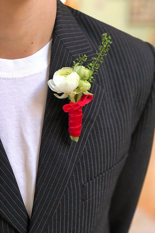 Boy's Red and White Boutonnier