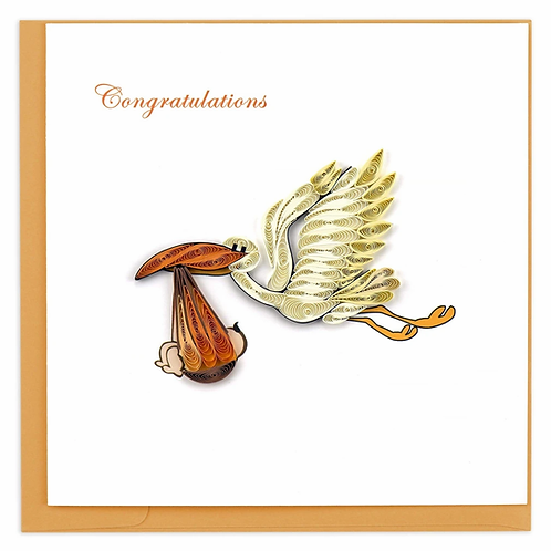Quilling Card - Stork Delivery