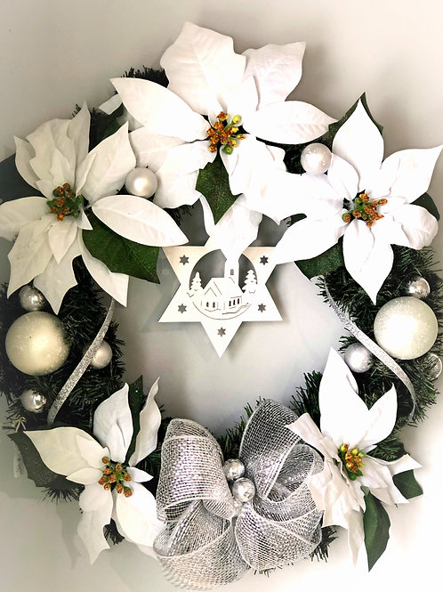 White Christmas Artificial Wreath