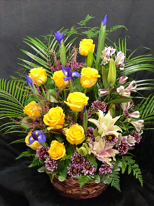 """""""Miss You"""" Floral Basket"""