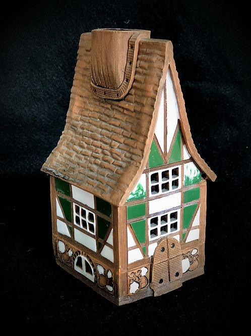 Original Lithuanian Clay Candle Tea Light House Folk Art Pottery