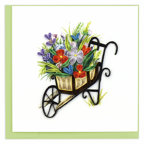 Quilled Wheelbarrow Garden Greeting Card