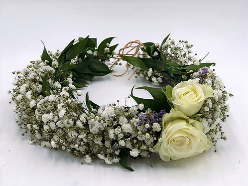 Girl's Flower Crown - Fresh Baby's Breath and Roses