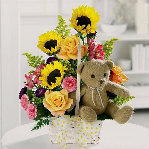"""The Bear Went Over The Mountain"" Floral Basket"