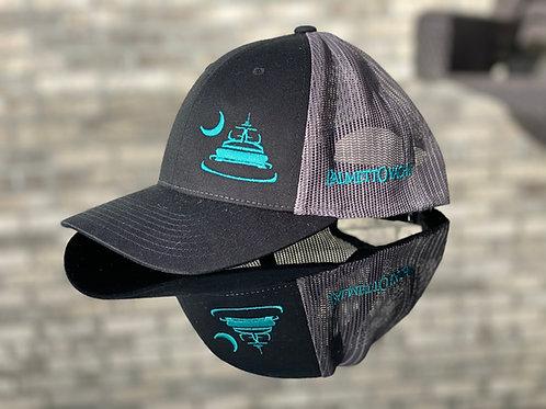 PYM Trucker Hat Grey/Black/Aqua