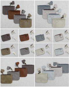 Collage of coin purses with the border terrier wrap around motif from the earths and neutrals collection