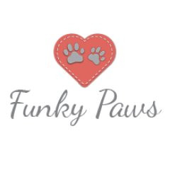 The Funky Paws logo showing a red heart with paws inside plus text