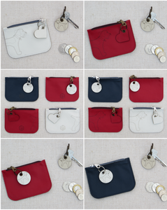 Collage of coin purses in the red, white and blue collection featuring the laser cut border terrier design