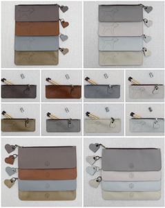 collage of pencil cases from the earths and Neutrals collection featuring a full border terrier laser cut motif to the front side only