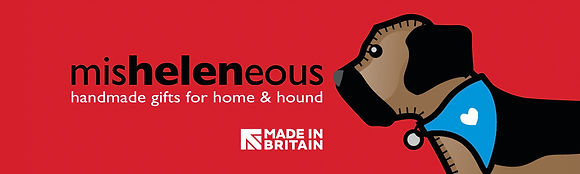 Border terrier Dog wearing a bandana and my logo MisHelenEous with Made in Britain in text